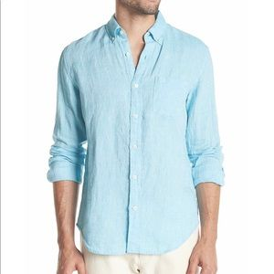 J. Crew men's blue linen button down shirt
